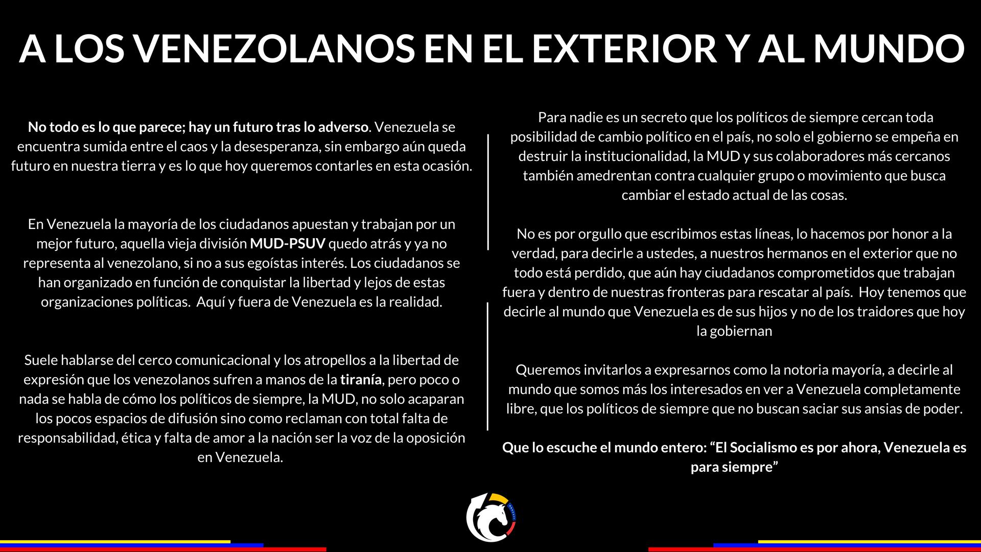 404fd1f89 A los venezolanos en el exterior y al mundo - ORDEN Movimiento ...